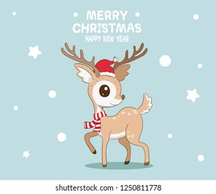Cute reindeer wearing Santa Claus hat with red and white scarf and Merry Christmas message with Happy New Year.
