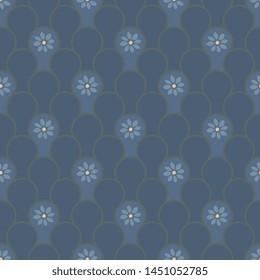 Cute repeat floral pattern seamless vector design for ladies dress fabric, mens shirt, apparel textile, interior wallpaper, fashion garment. Simple geometric flowers arrangement wabi sabi print block.
