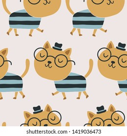 Cute repeat pattern of a cat with a hat and glasses. Fun for kids projects.