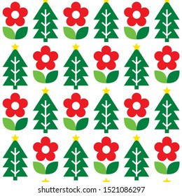Cute repetitive Nordic Christmas folk art vector seamless pattern, cute festive Scandinavian design with flowers and Christmas trees.  Xmas retro patterns in red and green, decorative background