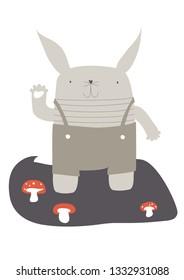 Cute retro bunny with mushrooms for kids baby room illustration vector poster wallart, birthday card greeting card birth greetings kids fashion, fabrics, bedding, nursery art, wrappig paper