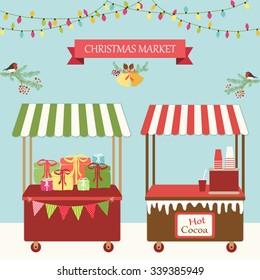 Cute retro card of Christmas market