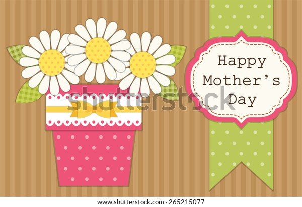 Cute Retro Card Mothers Day Flowers Stock Vector Royalty Free