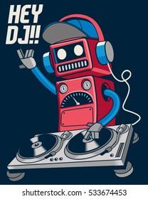 cute retro dj robot and party concept vector design