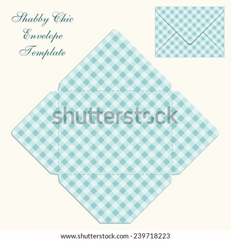 cute retro envelope template plaid ornament stock vector royalty