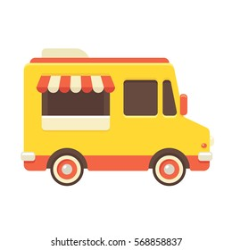 Cute retro food truck illustration in flat cartoon vector style. Little yellow fast food restaurant van.