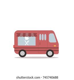 Cute retro food truck illustration in flat cartoon vector style. Little yellow fast food restaurant van.