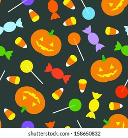 A cute retro Halloween background. Seamlessly repeatable. Eps 8 Vector.