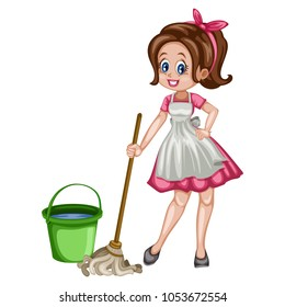 Cute Retro Housewife Cleaning the Floor  with Mop and Bucket of Water. Vector Illustration of a Beautiful Woman on a White Background
