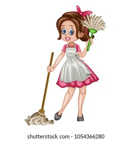 Cute Retro Housewife Cleaning the House with Mop and Dust Stick. Vector Illustration of a Beautiful Woman on a White Background