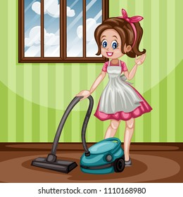 Cute Retro Housewife Cleaning with Vacuum Cleaner. Vector Illustration of a Beautiful Woman on a White Background