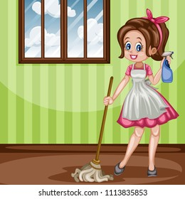 Cute Retro Housewife with Floor Mop and Cleaning Spray Bottle. Vector Illustration of a Beautiful Woman on a White Background