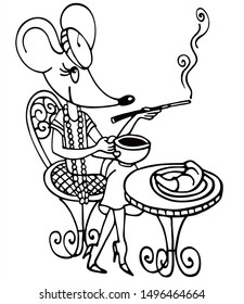 Cute retro mouse is eating breakfast in a french cafe. Black and white vector for card or gift.