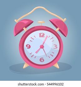 Cute retro pink alarm clock in a cartoon style. Morning. Vector illustration