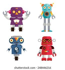 Cute Retro Robot set 2