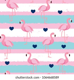 Cute Retro Seamless Flamingo Pattern Background Vector Illustration EPS10