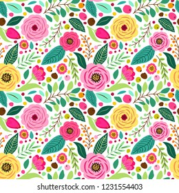 Cute retro seamless pattern with hand drawn rustic flowers