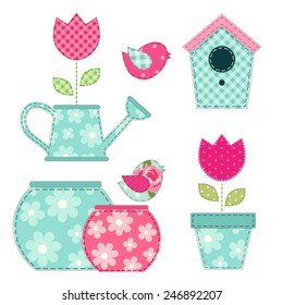Cute retro spring and garden elements as fabric patch applique
