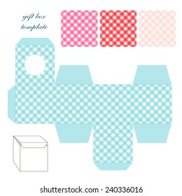 Cute retro square gingham gift box template in shabby chic style