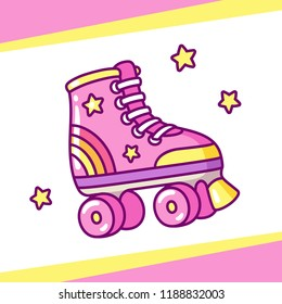Cute retro style roller skates drawing. Hand drawn cartoon vector illustration.