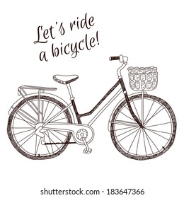 Cute retro style vintage vector hand drawn bicycle on white background
