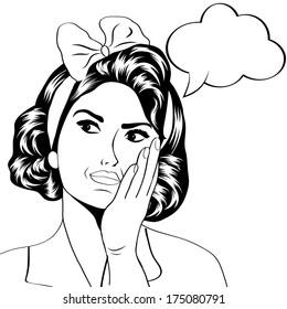 cute retro woman in comics style, vector illustration