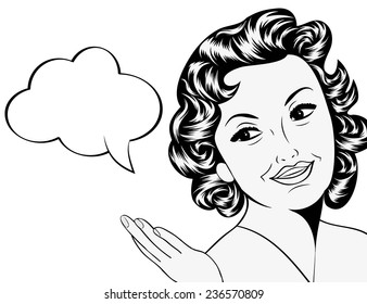 cute retro woman in comics style with message, vector illustration