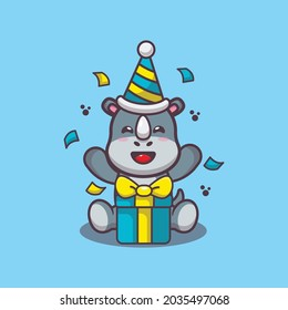 Cute rhino at birthday party. Cute animal cartoon illustration. Flat isolated vector illustration for posters, brochures, web, mascots, stickers, logos and icons.