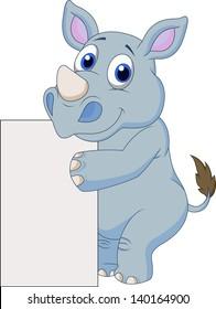 Cute rhino with blank sign