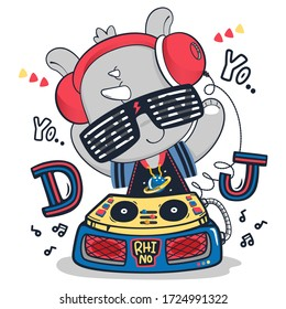 Cute rhino cartoon wearing headphones and playing music on a turntable isolated on white background illustration vector, Print for children wear.