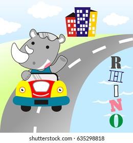 cute rhino take around drive a car kids t shirt design