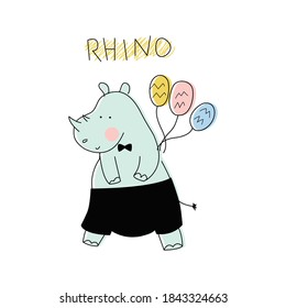 Cute Rhino. Vector illustration with an animal, in a modern cartoon style, for printing on packaging paper, postcard, poster, banner, clothing. Cute children's background.