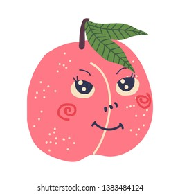 Cute Ripe Peach with Smiling Face, Sweet Adorable Funny Fruit Cartoon Character Vector Illustration