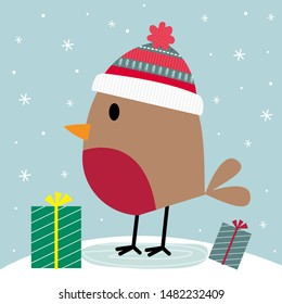 Cute robin and Christmas gift in snowing design, vector illustration