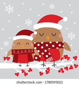 cute robin christmas greeting card on gray background