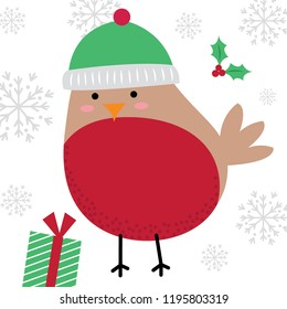 Cute Robin design, cute Christmas character with red and green color, vector illustration