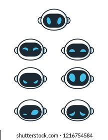 Cute robot bot face emotion character set. Vector modern flat style cartoon character illustration. Isolated on white background. Robot concept