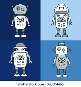 Cute Robot Cartoon Character educational flat icon template set. School, after-school business sign, mascot for kids' activities, technology education club concept. Sample text. Layered, editable