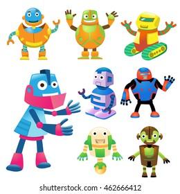 cute robot cartoon character set.EPS10 File simple Gradients