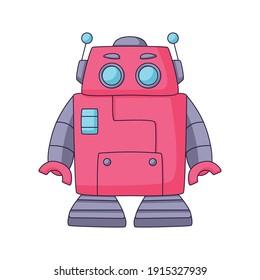 cute robot cartoon doodle hand drawn concept design vector art kawaii illustration.