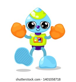 Cute robot character vector illustration on white background. Robot boxer with orange boxing gloves. Cute robot character for children product design. Funny robot clipart. Fantastic toy character