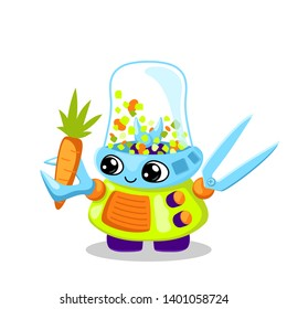 Cute robot character vector illustration on white background. Vegetable cutting cooking machine. Robot chief. Artificial intelligence concept for children. Friendly robot clipart. Fantastic kid toy