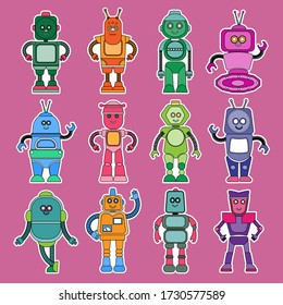 Cute robot characters of various shapes and colors set cartoon vector Illustrations
