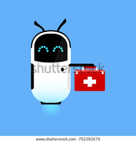 Cute robot doctor. Ambulance by air. Scientific technologies. Vector illustration.