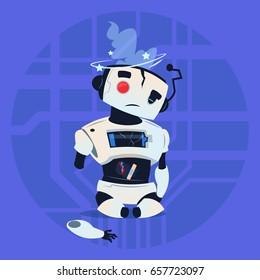 Cute Robot Error Broken Modern Artificial Intelligence Technology Concept Flat Vector Illustration