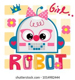 Cute robot girl cartoon smile happily illustration vector.