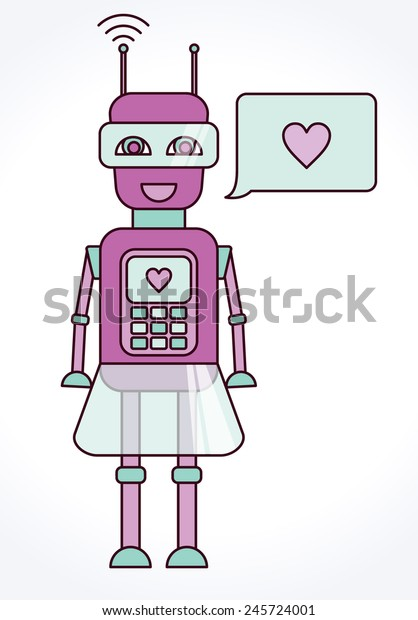 Cute Robot Girl Speech Bubble Stock Vector (Royalty Free) 245724001