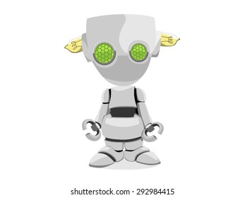 Cute robot with green eyes and lamps in the head vector