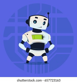 Cute Robot Happy Smiling Modern Artificial Intelligence Technology Concept Flat Vector Illustration