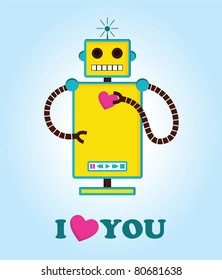 cute robot with heart. vector illustration